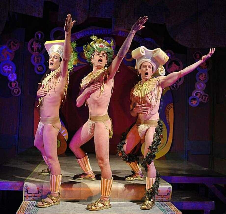 """T.J. Buswell (left), Michael Phillis and Bobby Singer in Thirllpeddlers' """"Hot Greeks"""" Photo: DavidAllenStudio.com"""