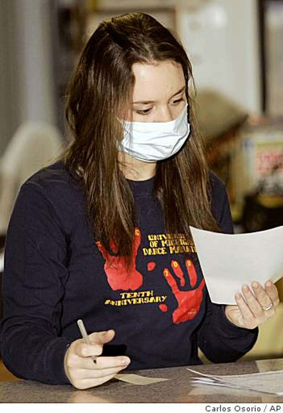 ** FILE **In this Jan 31, 2008, file photo, University of Michigan freshman Alicja Sobilo wears a surgical mask at work as part of a study as to whether the use of masks affects the spread of flu or other respiratory illnesses in Ann Arbor, Mich.. Doctors have long advised frequent hand-washing to avoid spreading germs. Wearing surgical masks and using hand sanitizers also can help, a novel University of Michigan study found. (AP Photo/Carlos Osorio, File)