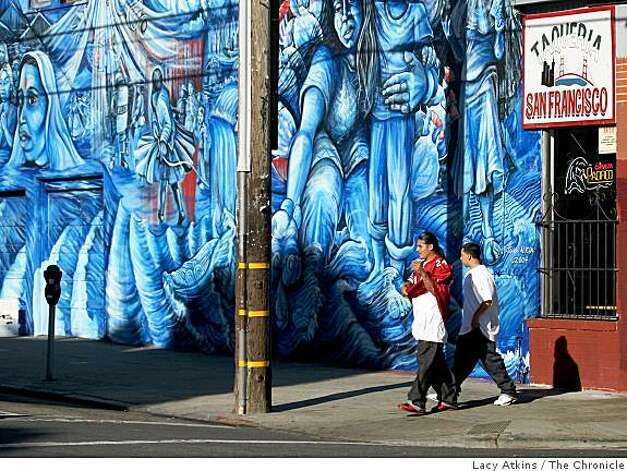 People walk down 24th street between Portrero and Mission, Tuesday Oct. 21, 2008, in San Francisco, Calif. Photo: Lacy Atkins, The Chronicle