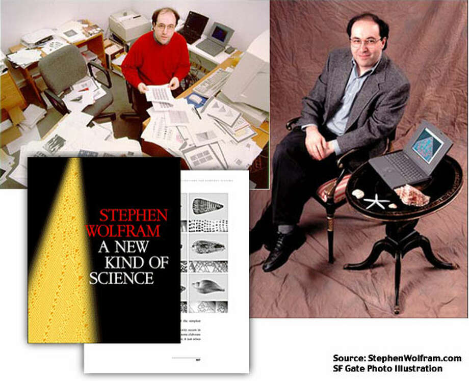 """Clockwise from upper left: 1994: Stephen Wolfram is pictured as he begins writing """"A New Kind of Science."""" A publicity photo for """"A New Kind of Science"""" featuring Wolfram was taken in 1995, long before the book's eventual publication; 2002: The book cover of """"A New Kind of Science"""" written and published by Stephen Wolfram. Photos courtesy of StephenWolfram.com. SF Gate Photo Illustration"""