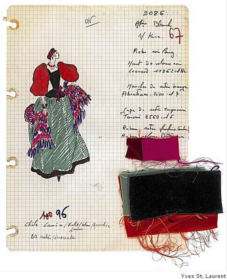 Yves St. Laurent's sketch, notes and swatches  for a 1976 evening gown show characteristic inventiveness, love of color and texture, fondness for ethnic influences, and meticulous attention to detail. Photo: Yves St. Laurent