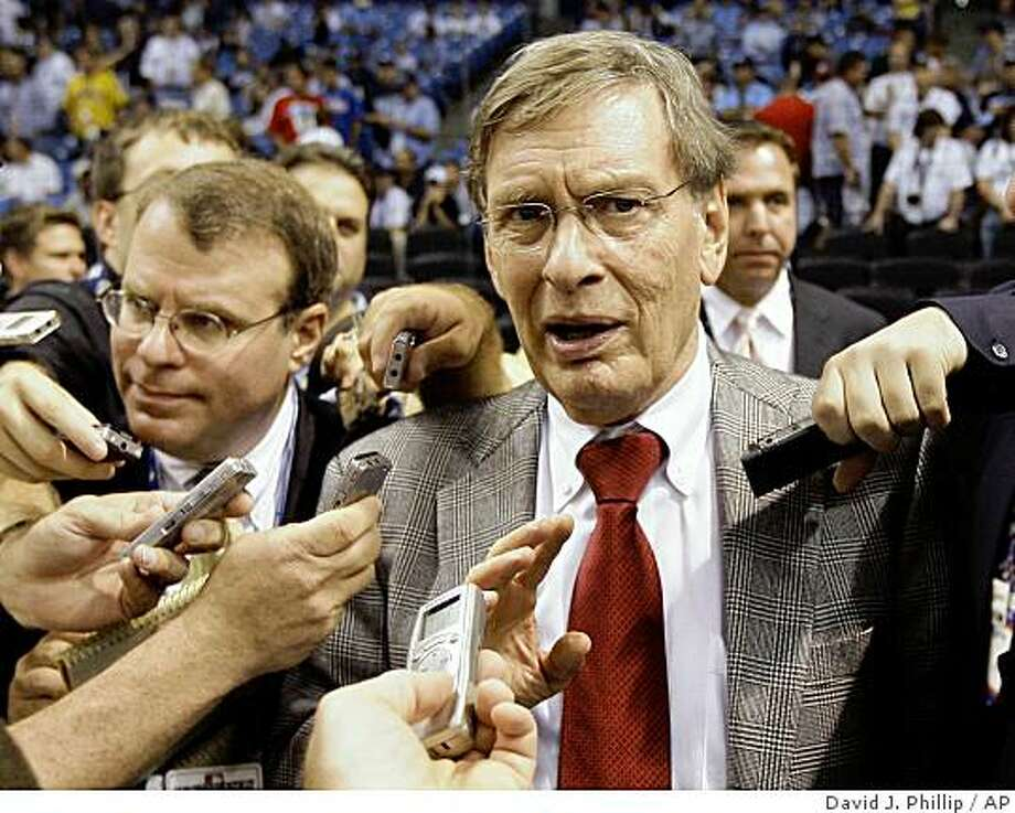 Baseball commissioner Bud Selig talks to reporters before Game 1 of the World Series between the Philadelphia Phillies and Tampa Bay Rays in St. Petersburg, Fla., Wednesday, Oct. 22, 2008. Photo: David J. Phillip, AP
