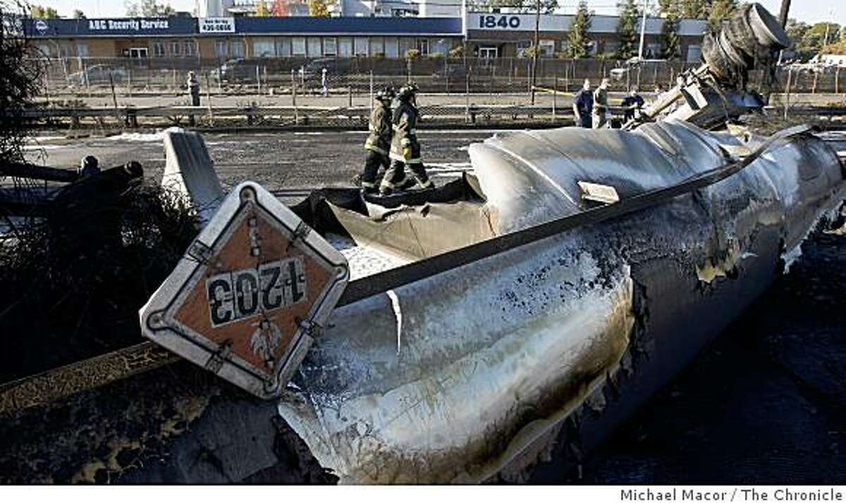 The shell of a gasoline tanker that exploded early this morning in Oakland, Calif. closing the I-880 freeway in both directions near 16th Ave. on Wednesday Oct. 22, 2008, sits idle as the task of clean-up begins.