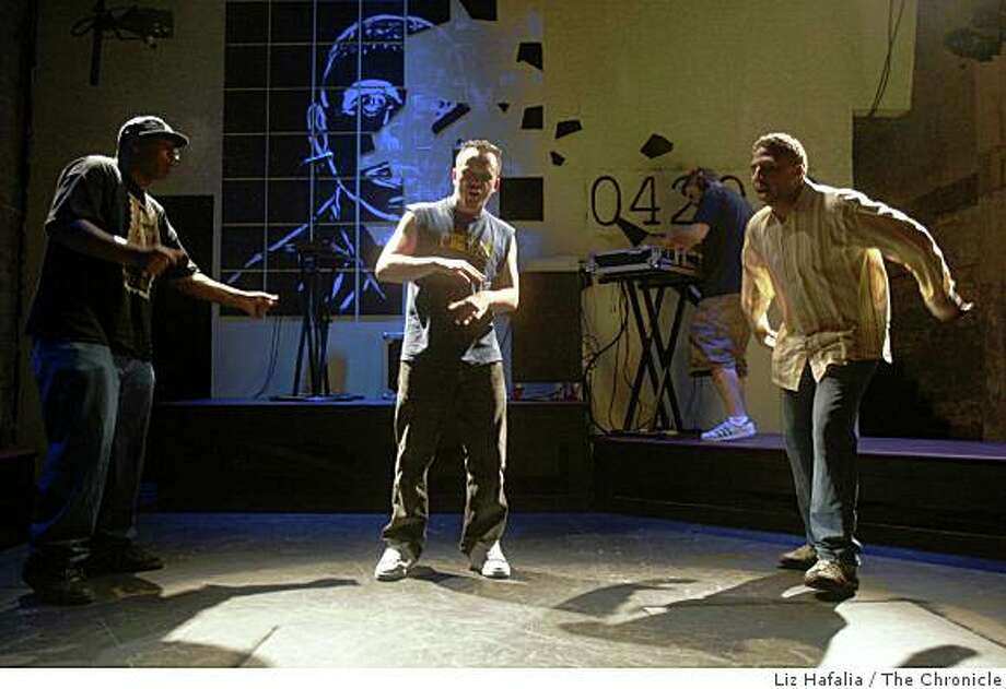 """Angry Black White Boy""  with musician/performer Tommy Shepherd (L), performer Keith Pinto (middle), performer Myers Clark (right) and writer/performer Dan Wolf (background, right) during rehearsal at the Intersection in San Francisco, Calif., on Friday, October 17, 2008. Photo: Liz Hafalia, The Chronicle"