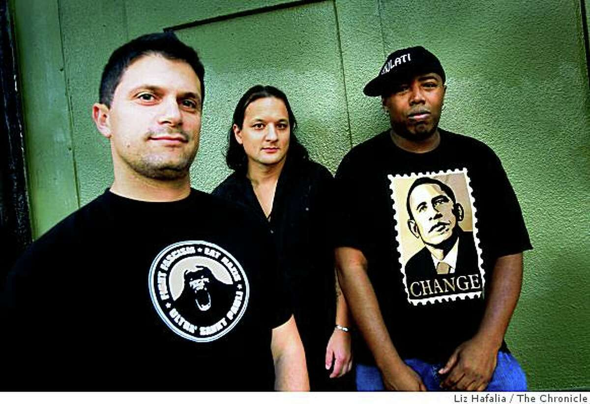 """""""Angry Black White Boy"""" with writer/performer Dan Wolf (L), musician/performer Tommy Shepherd (R), and director Sean San Jose (M) outside of the Intersection in San Francisco, Calif., on Friday, October 17, 2008."""