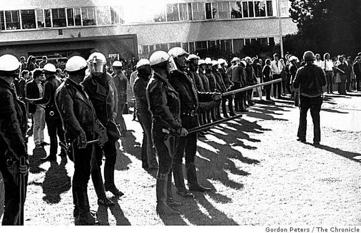 Police guard the front of the library at San Francisco State University on December 3, 1968.