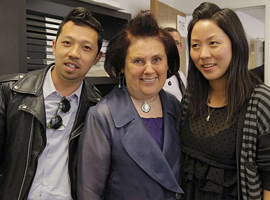 Fashion journalist and guest of honor Suzy Menkes with Opening Ceremony's Humberto Leon and Carol Lim, who were also honored at the Academy of Art's Graduation Fashion Show May 6 in San Francisco. Photo: Randy Brooke