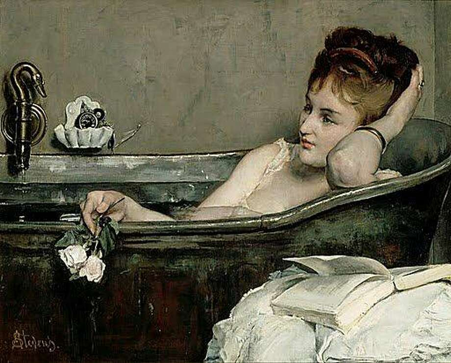 The Bath.  1867. Alfred Stevens (1823-1906).  Oil on canvas, 29 1/8 x 36 5/8 inches.  RMN (Musée d'Orsay)/Hervé Lewandowski Photo: Herve Lewandowski, Musee D'Orsay