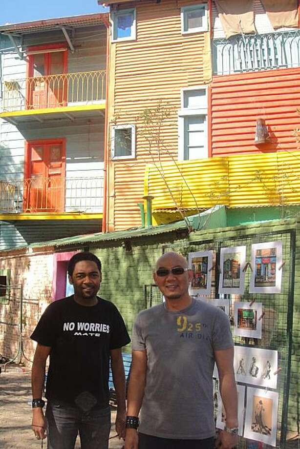 Anthony Jones (left) of Oakland, and Sam Bautista of Daly City, in La Boca, Buenos Aires, Argentina. Photo: Courtesy, Anthony Jones And Sam Bautista