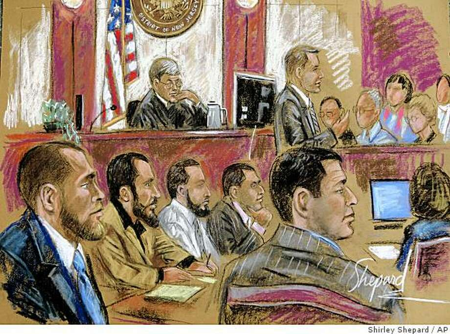This artist's drawing shows defendants Shain Duka, bottom left, Eljvir Duka, Dritan Duka, Mohamad Ibrahim Shnewer and Serdar Tatar in a federal courtroom in Camden, N.J., Monday, Oct. 20, 2008. Opening arguments were presented Monday in their trial on charges the five men were planning to kill soldiers at Fort Dix, New Jersey. The suspects were arrested in May 2007 and are accused of attempted murder, conspiracy to murder uniformed military personnel and weapons offenses. U.S. District Judge Robert Kugler is seen top center. (AP Photo/Shirley Shepard) Photo: Shirley Shepard, AP