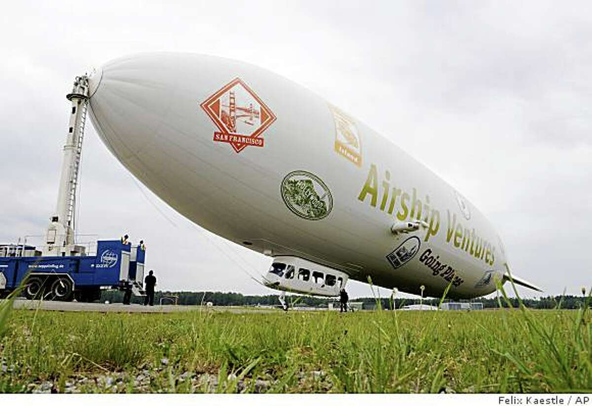 The new zeppelin takes off in Wednesday, May 21, 2008 in Friedrichshafen at Lake of Constance for its maiden flight. In autumn the zeppelin is expected to be shipped to the US. The new owners will be Airship Ventures in Moffett Field in California.(AP Photo/Felix Kaestle)