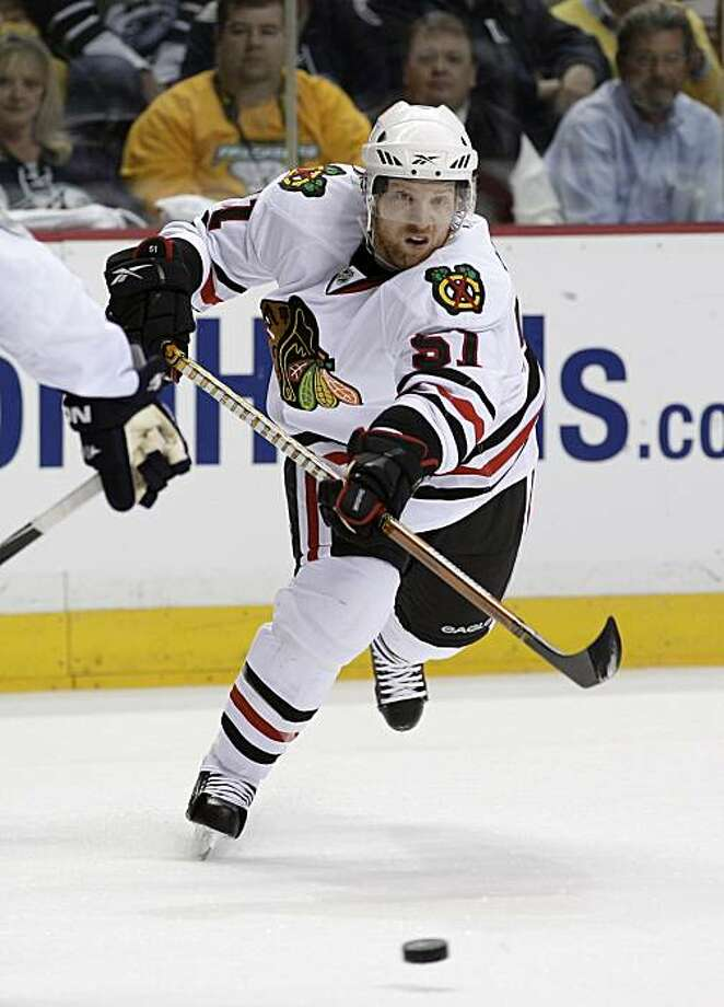 Chicago Blackhawks defenseman Brian Campbell (51) plays against the Nashville Predators in the second period of a first-round NHL Western Conference hockey playoff game on Monday, April 26, 2010, in Nashville, Tenn. Photo: Mark Humphrey, AP