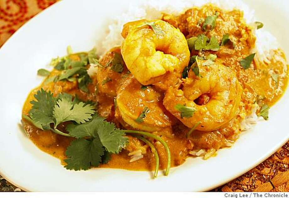Goan Shrimp Curry made by Chef, Suvir Saran, in the kitchen of Crossroads Dining at UC Berkeley, in Berkeley, Calif., on October 8, 2008. Suvir Saran, chef/owner of Devi restaurant in NYC and an author of Indian cookbooks, is a consultant for the student dining program at UC Berkeley. Photo: Craig Lee, The Chronicle