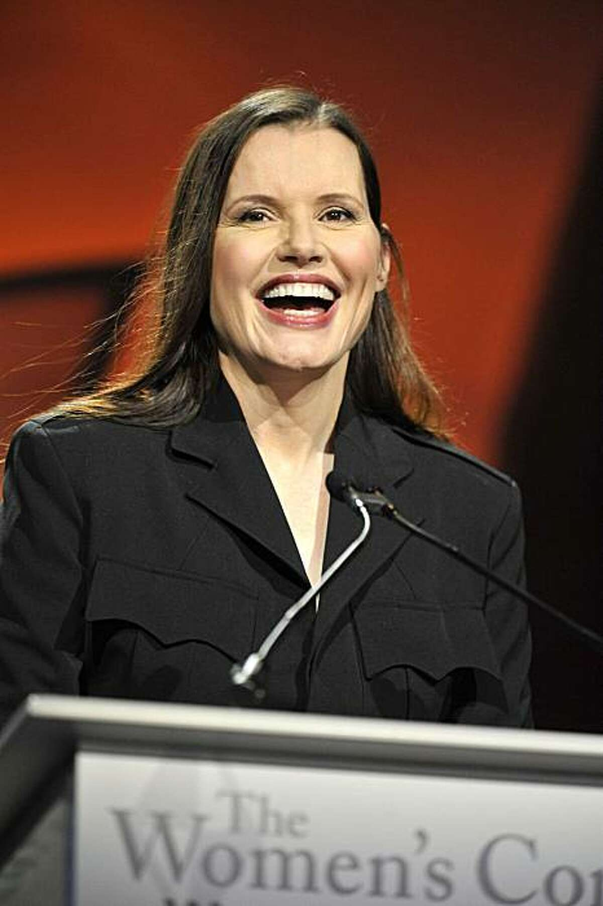 Geena Davis speaks at The 2009 Women's Conference held at Long Beach Convention Center on October 27, 2009 in Long Beach, Calif.