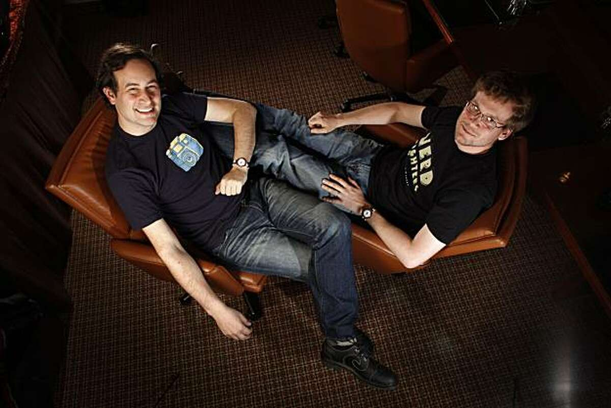 David Levithan (l to r) and John Green who co-wrote Will Grayson, pose for a portrait in San Francisco, Calif. on Monday April 26, 2010.