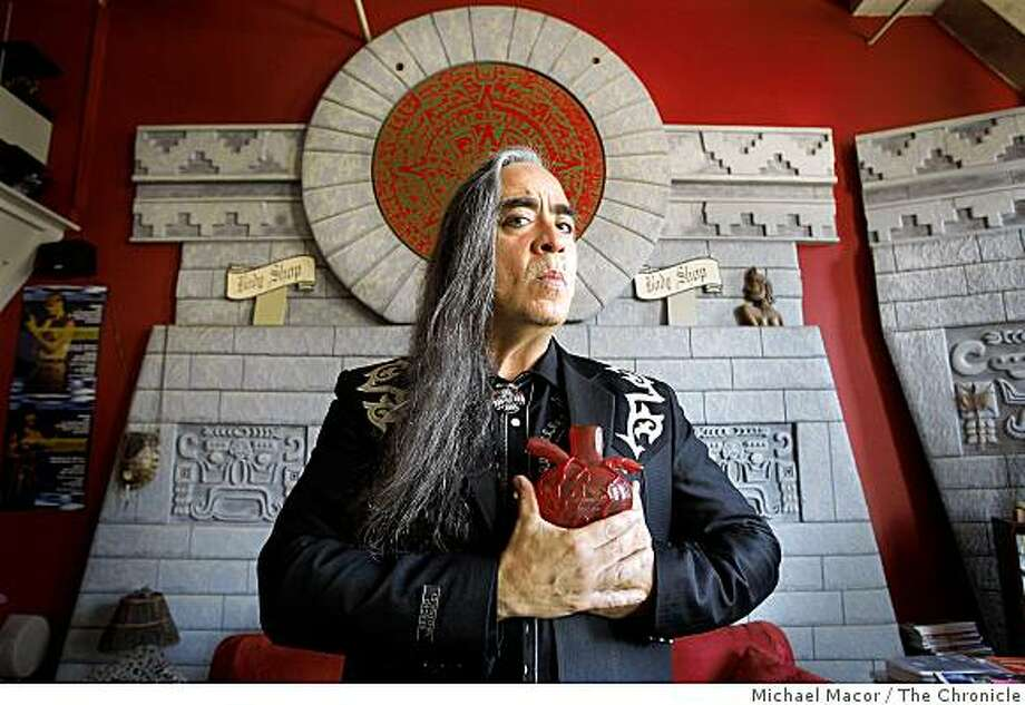 Celebrated performance artist Guillermo Gomez-Pena in his San Francisco, Calif. studio on Tuesday Oct. 14, 2008. Photo: Michael Macor, The Chronicle