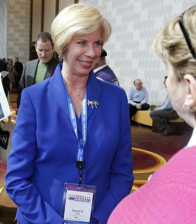 Los Angeles City Councilwoman and candidate for Lieutenant Governor Janice Hahn talks with an attendee at the California Democratic Convention in Los Angeles Saturday, April 17, 2010. Photo: Reed Saxon, AP