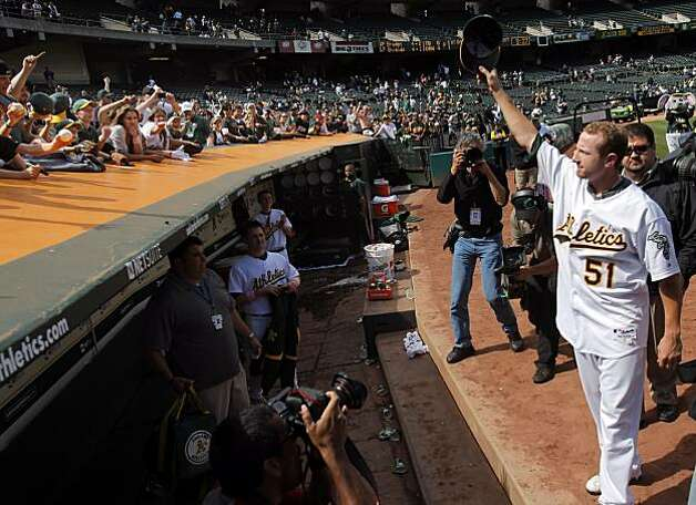 Dallas Braden reacts to the fans after his perfect game against the Tampa Bay Rays in Oakland on Sunday. Photo: Carlos Avila Gonzalez, The Chronicle