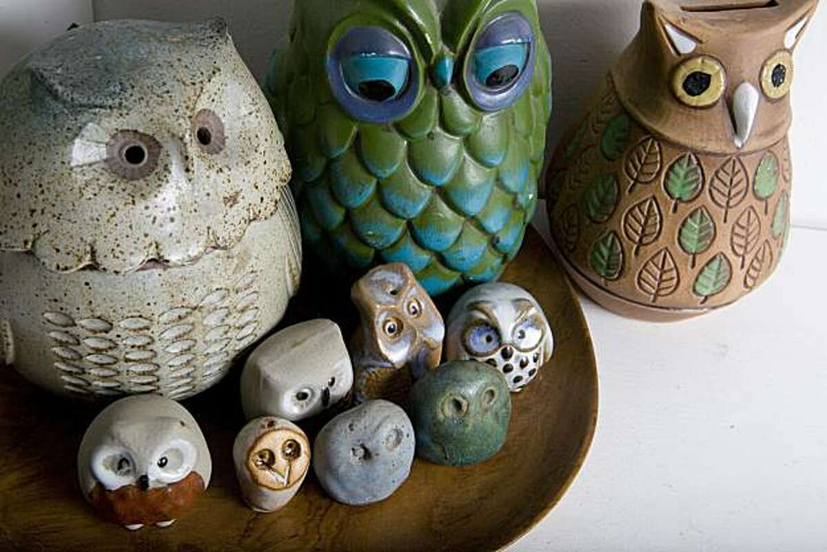 Artist Lisa Congdon's collection of owls in the living room of her San Francisco, Calif. home on Wednesday, March 24, 2010. Kat Wade / Special to the Chronicle