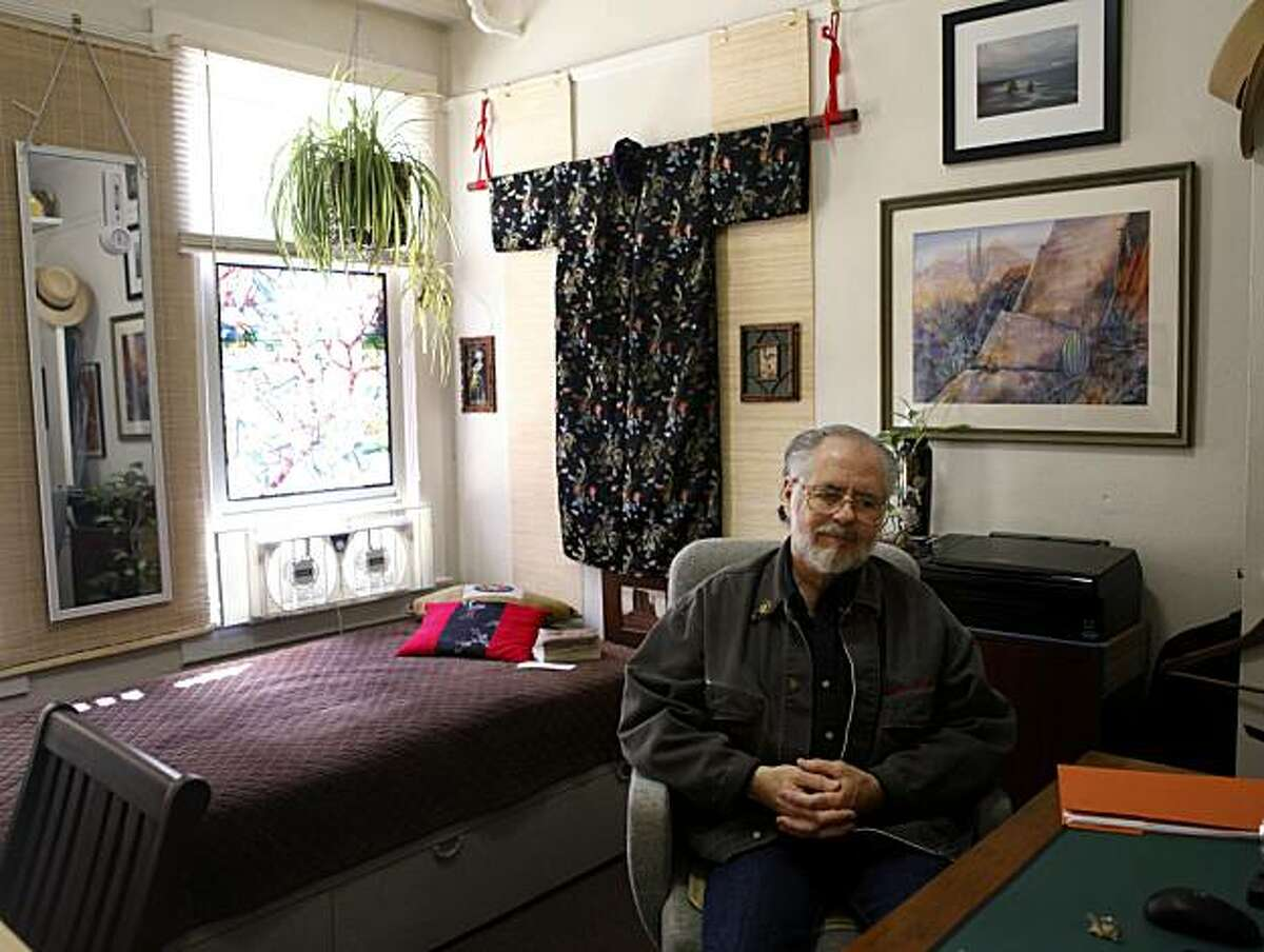 Paul Kerins, 61, sits in his room at the Lyric Hotel, on Tuesday March 20, 2010 in San Francisco, Calif. Kerins, who's lived there for 4 years, said,