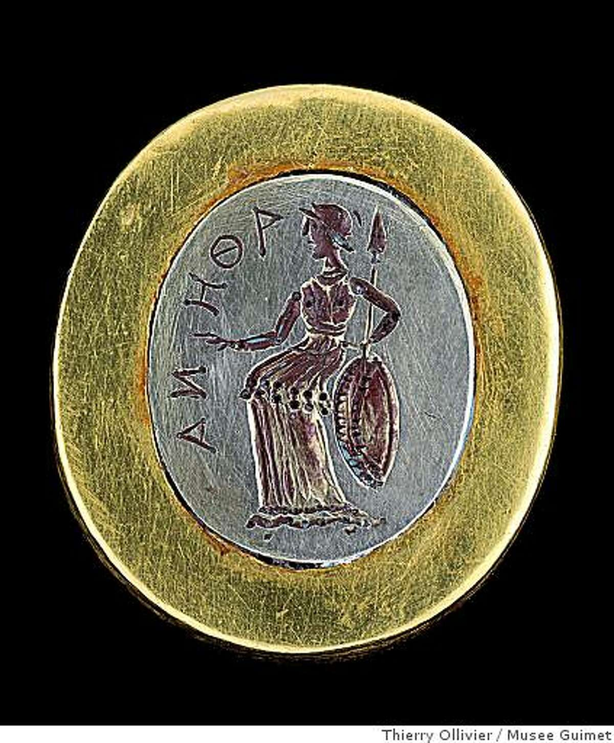 Ring depicting Athena (Tillya Tepe, Tomb II), 1st century BC-1st century AD. yellow and white gold. National Museum of Afghanistan.CREDIT: � Thierry Ollivier / Mus?e GuimetIMAGE IS FOR YOUR ONE-TIME EXCLUSIVE USE ONLY AS A TIE-IN WITH EXHIBIT