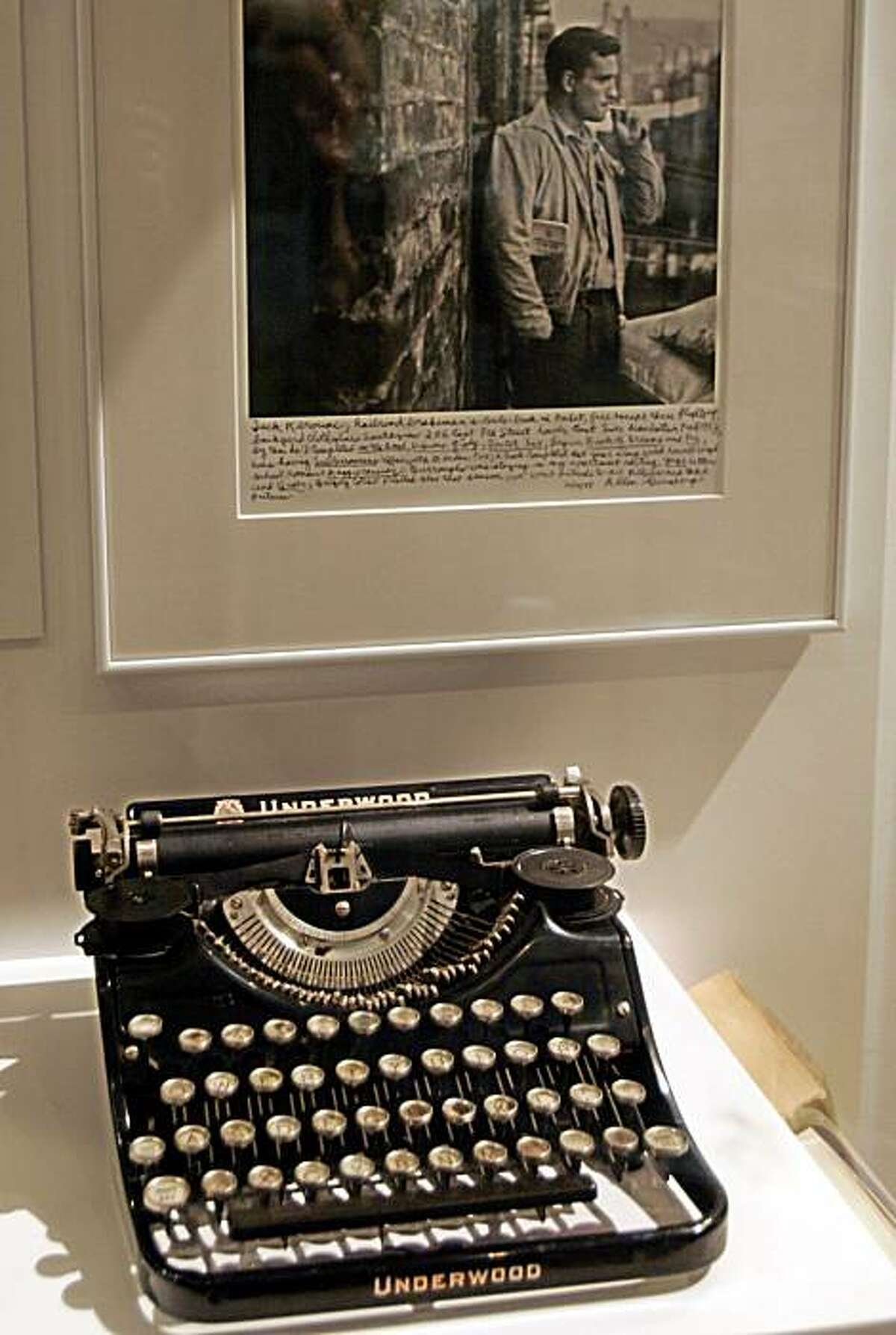 A display of writer Jack Kerouac artifacts including a typewriter are seen in Working People Exhibit at Morgan Cultural Center, in the Lowell National Historic Park in Lowell, Mass., Monday, May 1, 2006. The story of Kerouac, whose parents emigrated from French Canada before his birth in Lowell in 1922, is inseparable from the mills and the stream of immigrants coming to the banks of the Merrimack River since the early 1800s.