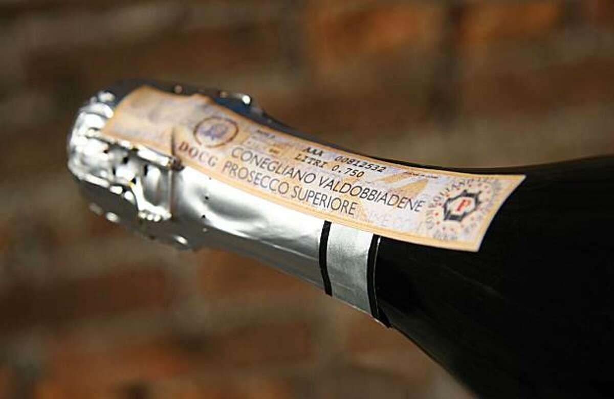 A close-up of the new DOCG label for top-level proseccos / Conegliano Valdobbiadene Prosecco Superiore DOCG NOTE - the full credit for the caption is: Consorzio di Tutela Conegliano Valdobbiadene Prosecco Superiore DOCG -- can be shortened as needed to