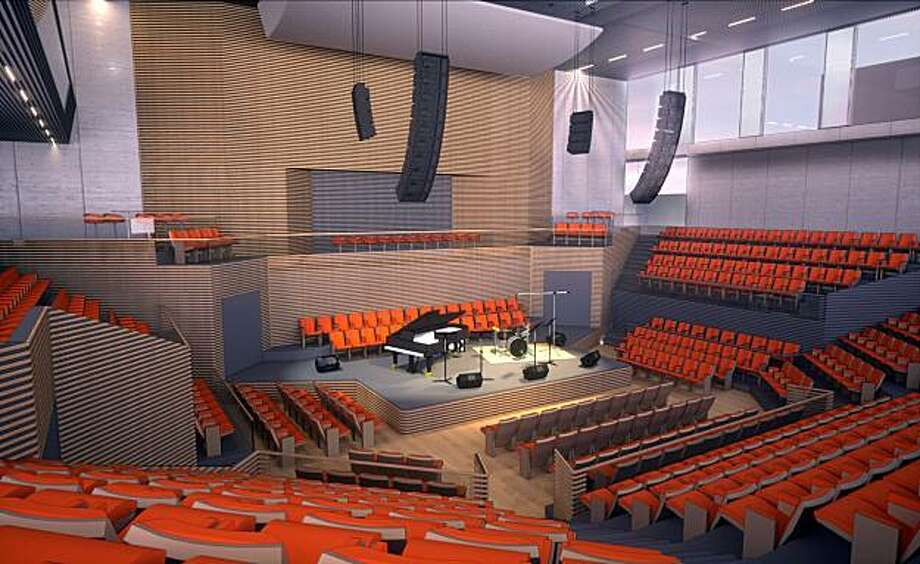 A rendering of the interior 700-seat theater in the new building planned by the San Francisco Jazz Festival. Photo: Mark Cavagnero Associates, Courtesy SF Jazz
