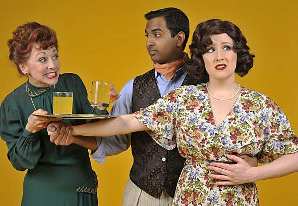 659: Winnie Spofford (Maureen McVerry), the wealthy patroness of a theater troupe, offers refreshment at an inopportune time for her daughter Liz (Sarah Kathleen Farrell) and director Johnny Graham (Anil Margsahayam), in 42nd Street Moon?s production ofJerome Kern and Oscar Hammerstein II's 1939 musical Very Warm for May. (photo by David Allen).