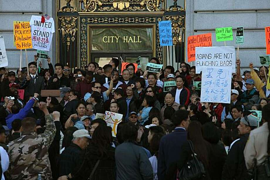 A couple hundred protesters from the  Asian American community rallied in front of City Hall in San Francisco, Calif., on Tuesday, May 5, 2010. Photo: Liz Hafalia, The Chronicle