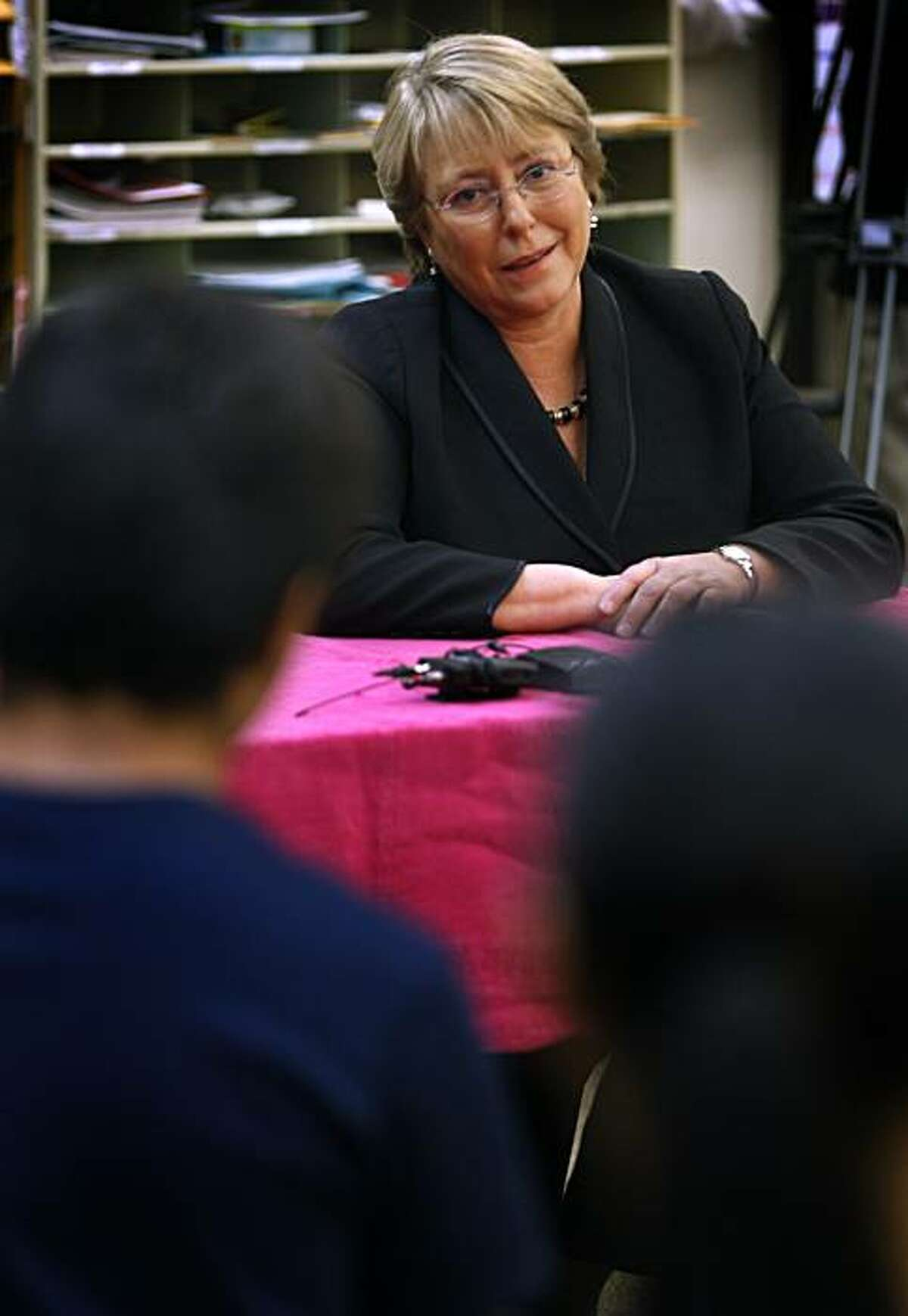 Michelle Bachelet, the former president of Chile, visits students at Oakland International High School in Oakland, Calif., on Wednesday, May 5, 2010.