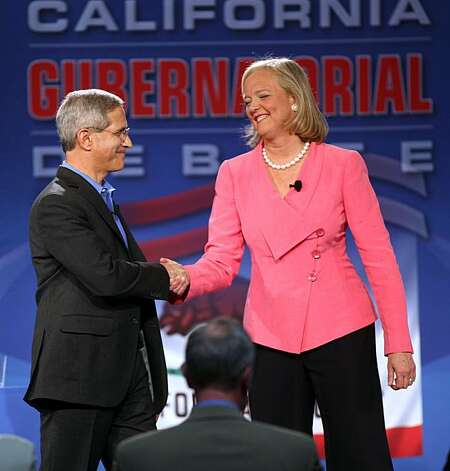 GOP gubernatorial candidates Steve Poizner and Meg Whitman shake hands after a televised debate at the Tech Museum in San Jose, Calif. on Sunday, May 2, 2010. Steve Poizner and Meg Whitman squared off in their second debate as each vies to become the GOPnominee for California's governor. Photo: Jim Gensheimer, AP