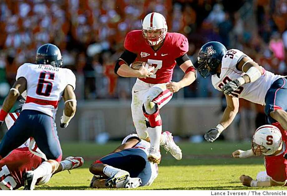 Stanford Toby Gerhart goes airborn efforting a first down in the final drive of the game that gave Stanford the victory. Stanford defeated Arizona Saturday, October 11, 2008 24-23 Photo: Lance Iversen, The Chronicle