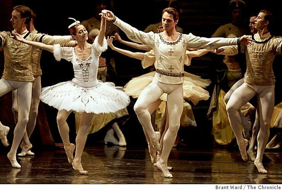 Irma Nioradze, left, and Yevgeny Ivanchenko danced during the finale of Raymonda. The famed Russian dance company Kirov Ballet and Orchestra performed at Zellerbach Hall on the UC Berkeley campus Tuesday October 14, 2008.