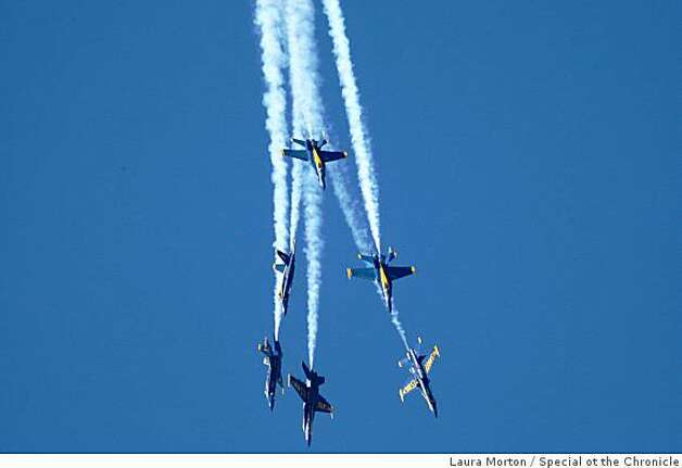 The Blue Angels fly in formation over the city as part of fleet week festivities in San Francisco, Calif., on Sunday, October 12, 2008. Photo: Laura Morton, Special Ot The Chronicle