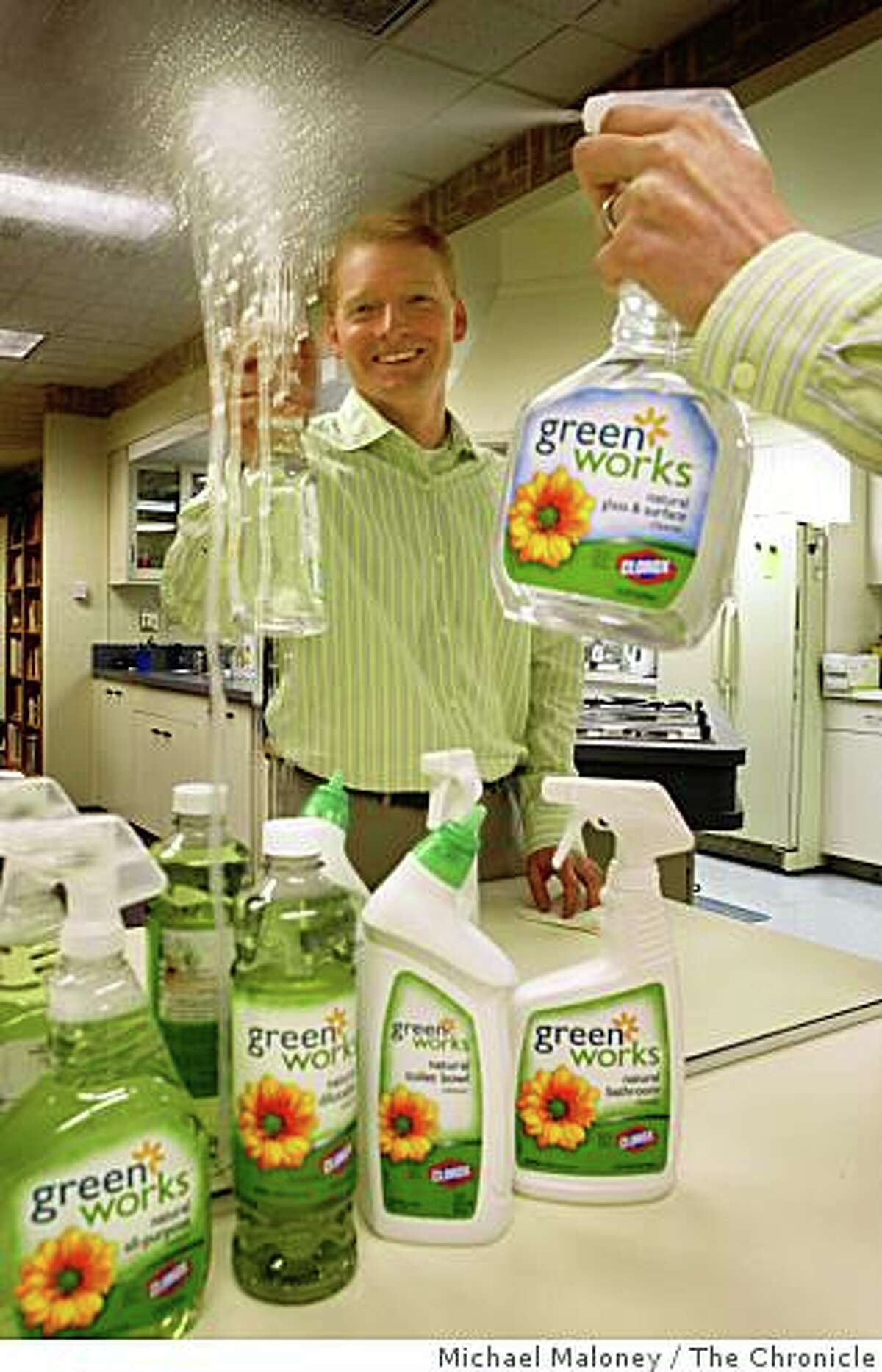 Matt Kohler, brand manager for the Green Works line of products at Clorox demonstrates one of the Green Works products in the Clorox test kitchen in Pleasanton, CA on Thursday, January 1, 2008. Clorox has introduced a line of environmentally-friendly household cleaning products called Green Works, made with natural, biodegradable, non-petroleum-based ingredients. Photo by Michael Maloney / The Chronicle