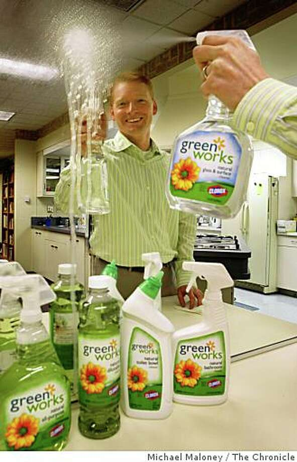 Matt Kohler, brand manager for the Green Works line of products at Clorox demonstrates one of the Green Works products in the Clorox test kitchen in Pleasanton, CA on Thursday, January 1, 2008. Clorox has introduced a line of environmentally-friendly household cleaning products called Green Works, made with natural, biodegradable, non-petroleum-based ingredients. Photo by Michael Maloney / The Chronicle Photo: Michael Maloney, The Chronicle