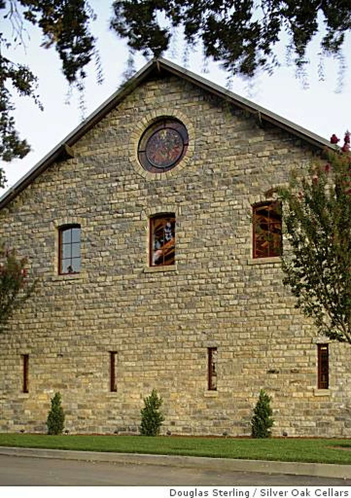 The limestone blocks covering the walls of the new Napa Valley home of Silver Oak Cellars came from an abandoned flour mill in Kansas.