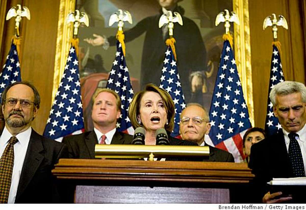 WASHINGTON - OCTOBER 13: House Speaker Nancy Pelosi (C, D-CA) speaks at a news conference with House Democrats and prominent economists on Capitol Hill on October 13, 2008 in Washington, DC. The news conference followed a forum designed to help Congress develop an economic recovery plan. (Photo by Brendan Hoffman/Getty Images)