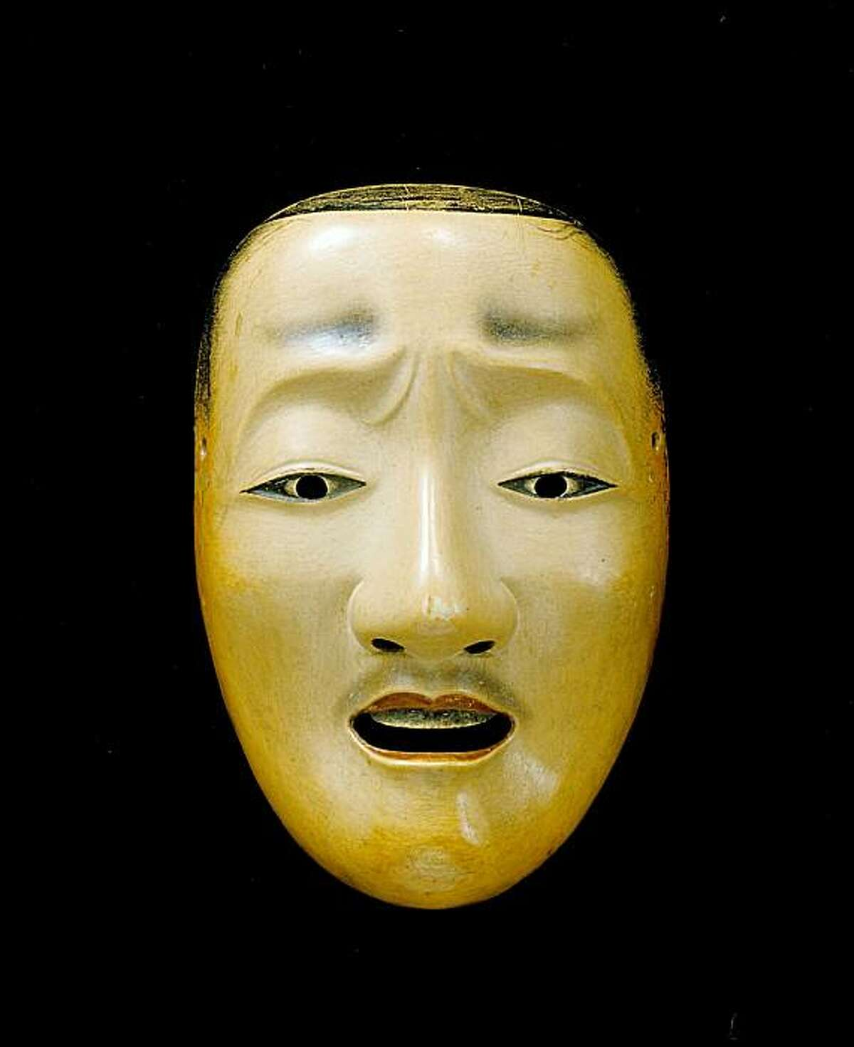 """""""Noh Mask"""" (1700s) ink on wood, artist unknown, Edo period, Japan"""