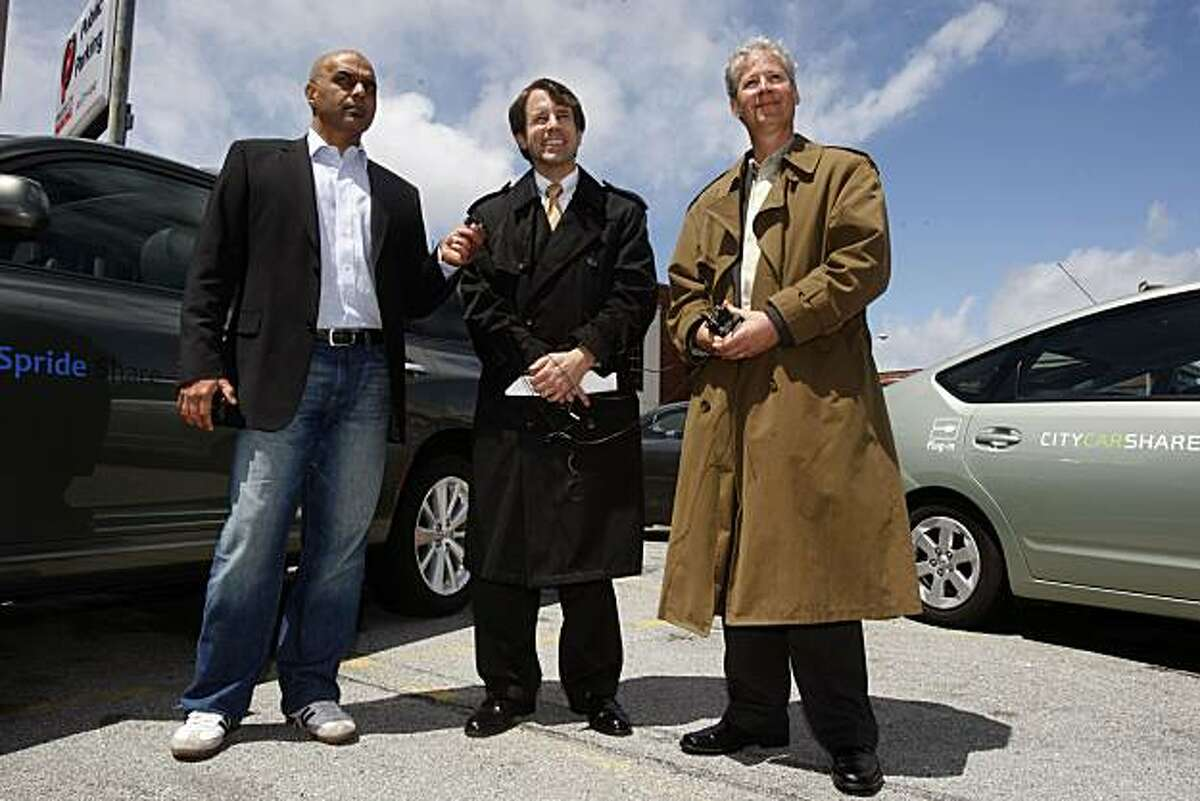Assembymember Dave Jones (middle, D-Sacramento) was joined by Spride CEO Sunil Paul (left) and City CarShare CEO Rick Hutchison (right) to announce legislation allowing individual car owners to participate in vehicle sharing fleets in San Francisco, Calif., on Wednesday, April 28, 2010.