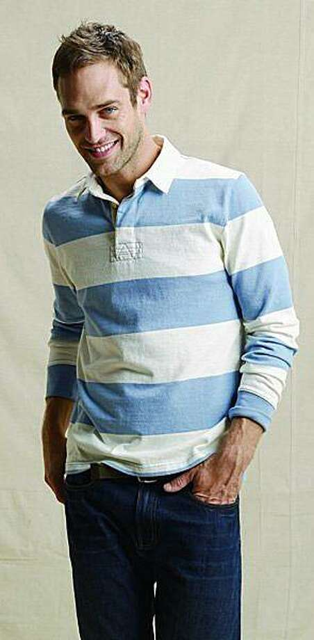 The blue stripe cotton canvas rugby shirt from Land's End ($44.50). Photo: Lands' End