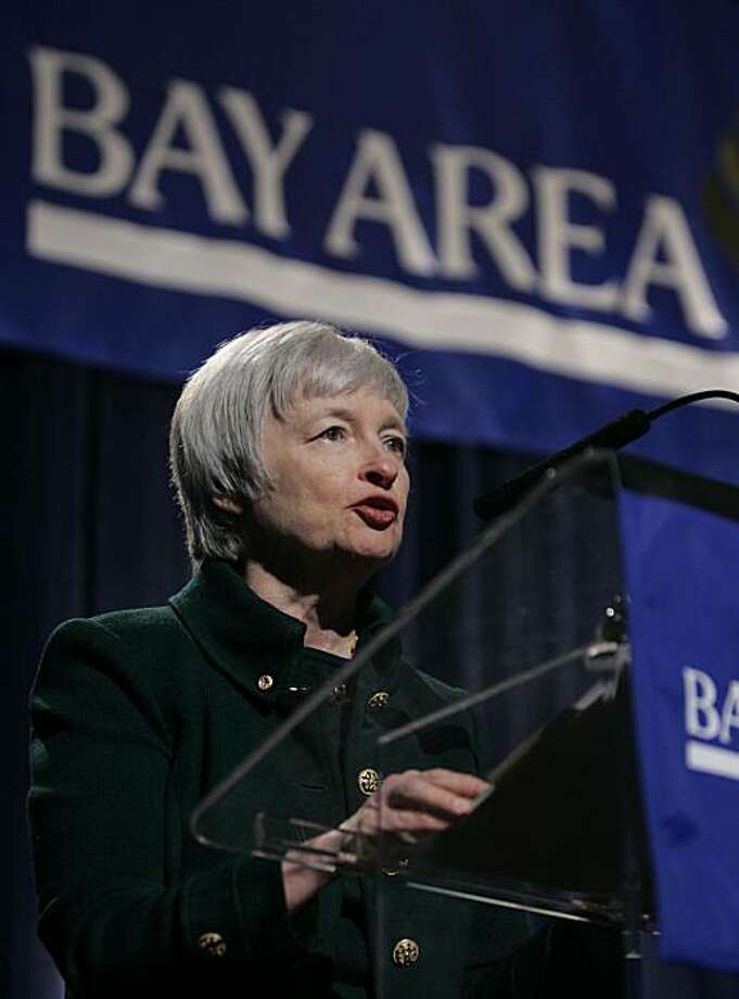 """Janet L. Yellen, President and CEO of the Federal Reserve Bank of San Francisco, speaks about foreclosures to the Bay Area Council Outlook Conference in Alameda, Calif., Wednesday, April 16, 2008. Yellen said the mortgage crisis and financial services turmoil are likely to be a """"major drag"""" on the national economy into 2009.  (AP Photo/Paul Sakuma) Photo: Paul Sakuma, AP"""
