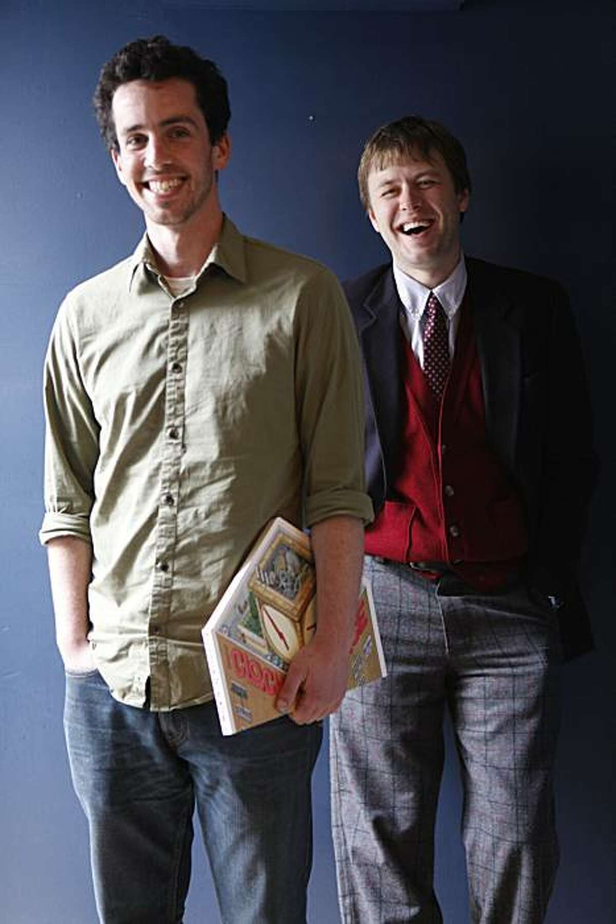 Eli Horowitz and Mac Barnett, authors of a new McSweeney's book called The Clock Without A Face, stand for a portrait at McSweeney's offices on Tuesday April 27, 2010 in San Francisco, Calif.