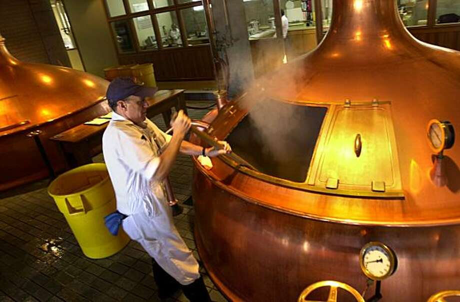 Ollie Lagomarsino works at the Anchor Brewing Co. in San Francisco, which Fritz Maytag has sold.   Photo of CRAIG LEE / The Chronicle Photo: Craig Lee, The Chronicle