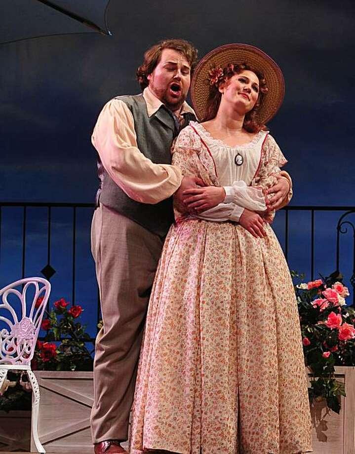 "Christopher Bengochea (l.) as Ruggero and Rebecca Davis as Magda in Puccini's ""La Rondine"" at Opera San Jose Photo: Pat Kirk"