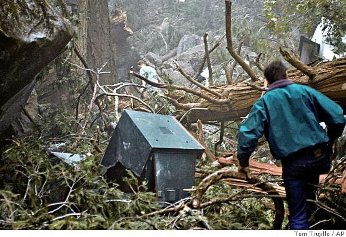 People walk through some of the damage to trees and lodging at Curry Village in Yosemite National Park following a rock slide Wed., Oct. 8, 2008, the second in two days at the facility. (AP Photo/Tom Trujillo)