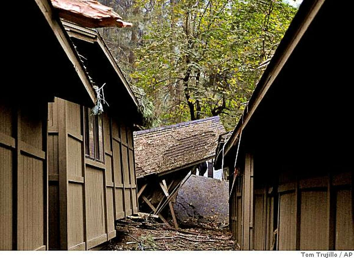 Cabins in Curry Village in Yosemite National Park show damage following a rock slide Wed., Oct. 8, 2008, the second in two days at the facility. (AP Photo/Tom Trujillo)