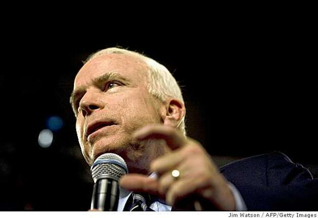 Republican presidential candidate Sen. John McCain speaks during a town hall meeting in Lakeville, Minn., on Oct. 10, 2008. Photo: Jim Watson, AFP/Getty Images