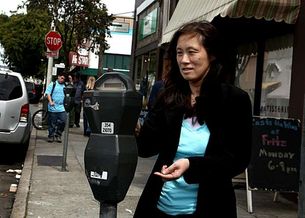 Susan Young feeds the meter on Chestnut Street on Monday, April 26, 2010 in San Francisco, Calif.Susan Young feeds the meter on Chestnut Street on Monday, April 26, 2010 in San Francisco, Calif.